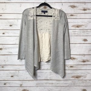 WEAVERS girl cardigan, grey and cream, with lace